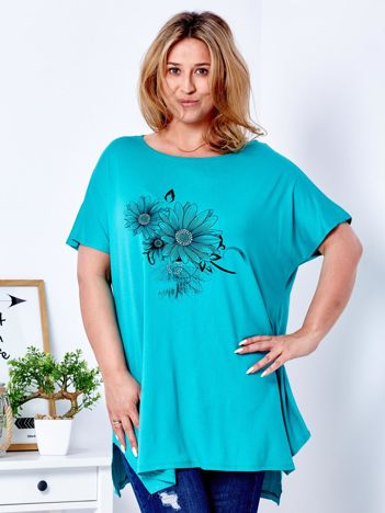 Zielony t-shirt z kwiatowym printem PLUS SIZE