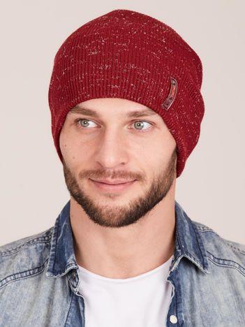 Zimowa czapka męska beanie bordowa