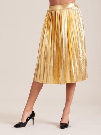 Złota błyszcząca plisowana spódnica