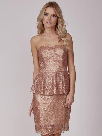 27ab77530b Złota sukienka koktajlowa z baskinką