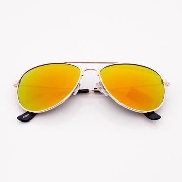Złote PILOTKI AVIATORY Z LUSTREM stylowe okulary dzieciece z filtrami UV