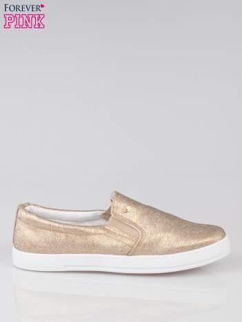 Złote buty sliponki glitter