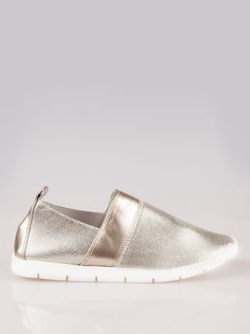 Złote buty slippers na traktorowej podeszwie