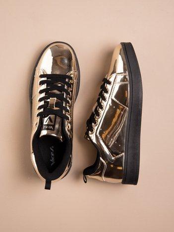 Złote buty sportowe faux leather Picture na grubej podeszwie