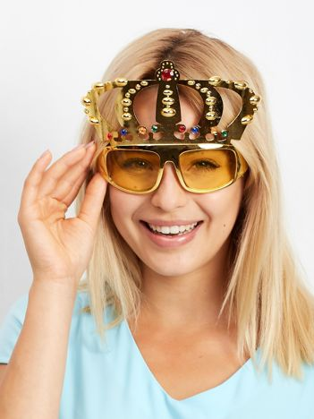 Złote okulary z koroną