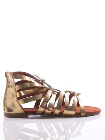Złote sandały Evento z cholewką do kostek i suwakiem z tyłu