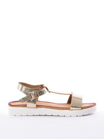 Złote sandały SABATINA z tłoczeniem w skórę węża