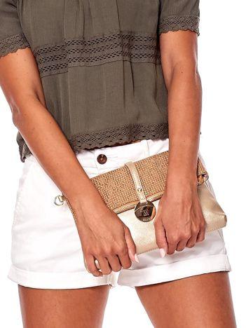Złoto-brązowa miękka torebka z odpinanym paskiem