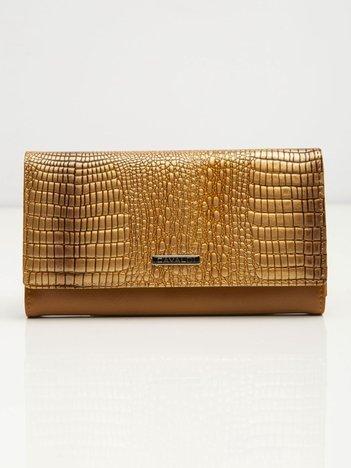 Złoty damski portfel skórzany