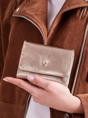 Złoty damski portfel z ekoskóry