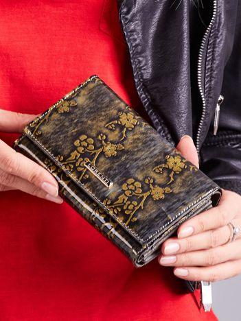Złoty damski portfel ze skóry