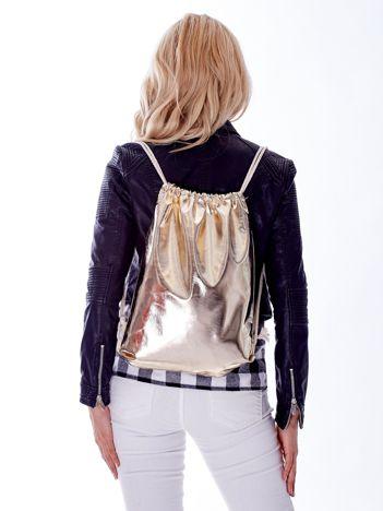 Złoty metaliczny plecak worek