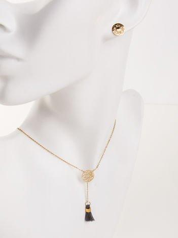 Złoty naszyjnik damski KRAWAT z ażurowym kołem i CHWOSTEM z najwyższej jakości STALI CHIRURGICZNEJ 316L