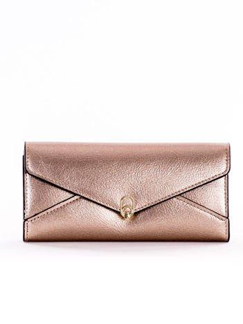 Złoty podłużny portfel z ozdobnym zapięciem na napę