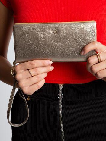 Złoty portfel damski z eko skóry