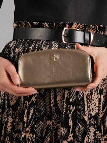 Złoty skórzany portfel do ręki