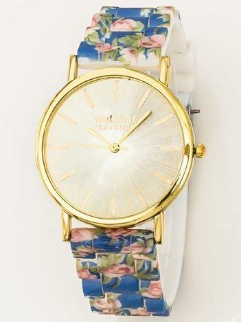Złoty zegarek damski na silikonowym wygodnym pasku