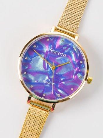 Złoty zegarek damski z perłową tarczą i cyrkoniami na bransolecie MESH