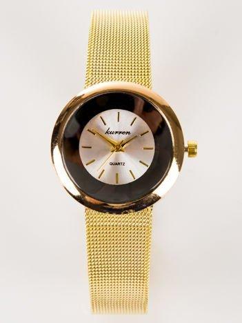 Złoty zegarek damski z perłową tarczą na bransolecie MESH