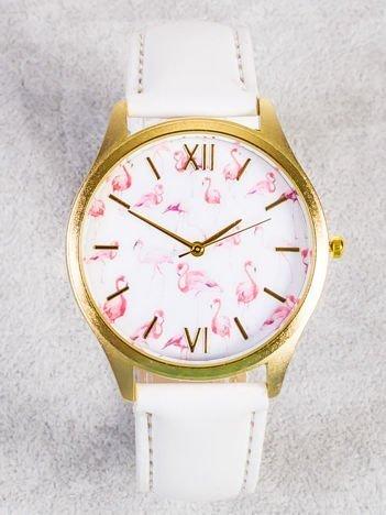 Złoty zegarek damski z tarczą z FLAMINGAMI
