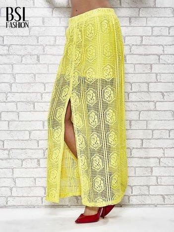 Żółta ażurowa spódnica maxi