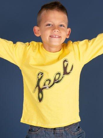 Żółta bawełniana bluzka dla dziewczynki z moro aplikacją