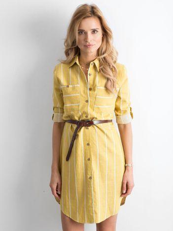 Żółta bawełniana szmizjerka w paski