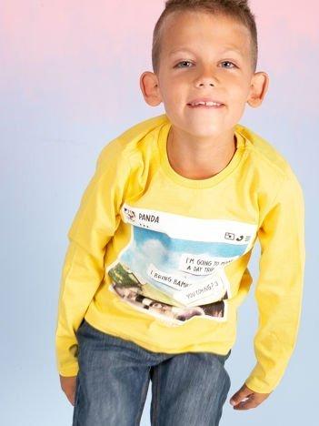 Żółta bluzka dla chłopca z nadrukiem