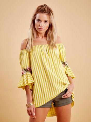Żółta bluzka hiszpanka w paski z kwiatowymi wstawkami