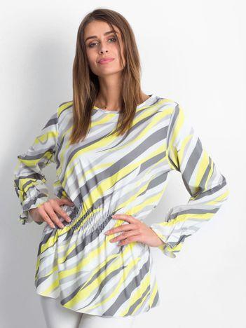 Żółta bluzka w kolorowe desenie