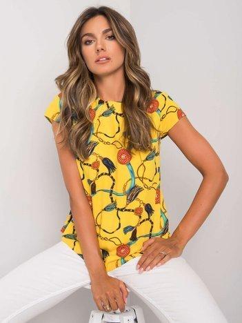 Żółta bluzka z printami Aleena RUE PARIS