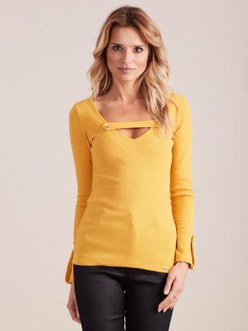 Żółta dopasowana bluzka V-neck