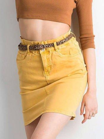 Żółta dopasowana spódnica jeansowa