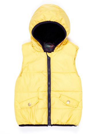 Żółta kamizelka dziewczęca z kapturem