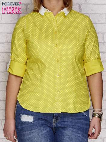 Żółta koszula w groszki PLUS SIZE