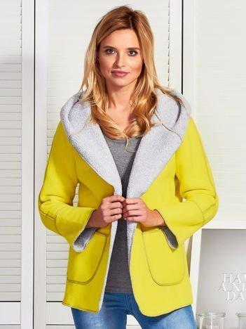 Żółta kurtka damska z podszewką barankiem