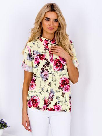 Żołta kwiatowa koszula z podwijanymi rękawami