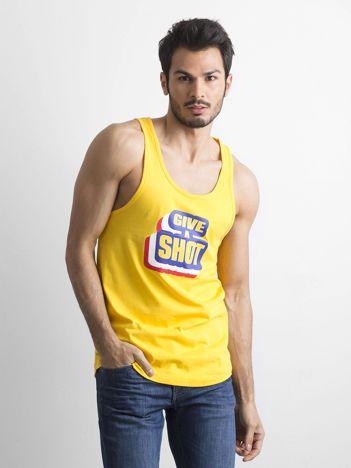 Żółta męska koszulka bez rękawów z nadrukiem