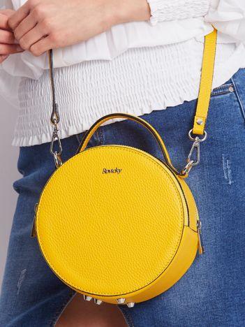 Żółta okrągła torebka ze skóry