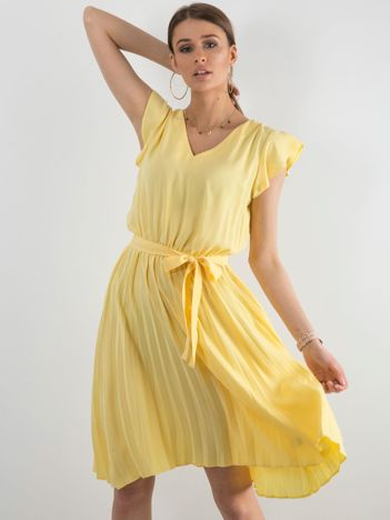 af7fc0d4bf Żółta sukienka damska z wiązaniem