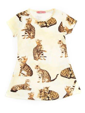 Żółta sukienka dla dziewczynki w koty