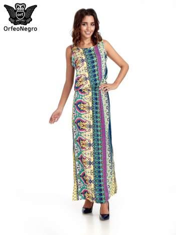 Zółta sukienka grecka w kwiatowe wzory