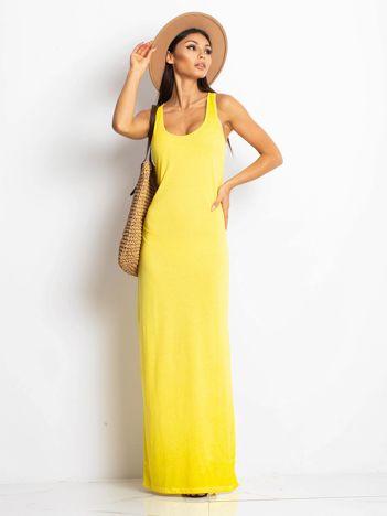 Żółta sukienka maxi z efektem sprania