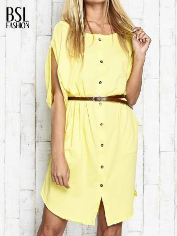 Żółta sukienka oversize z guzikami