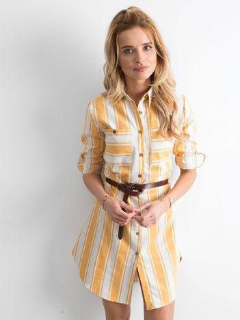 Żółta sukienka szmizjerka w paski