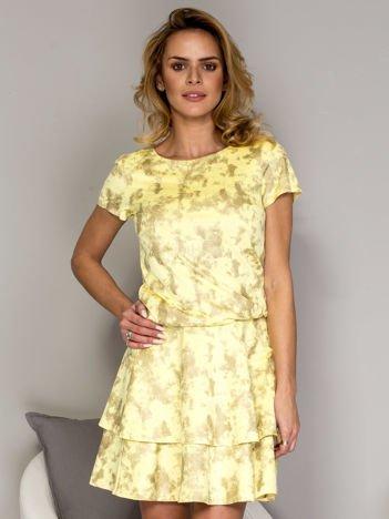 Żółta sukienka w malarski deseń z falbanami