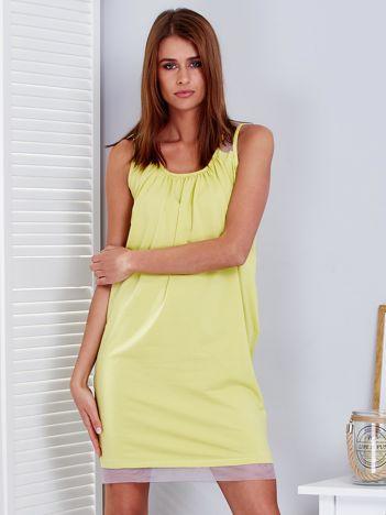 Żółta sukienka z siatkowymi wstawkami