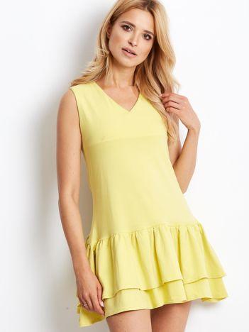 Żółta sukienka z warstwowymi falbanami