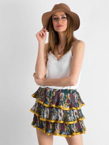 Żółta wzorzysta spódnica z falbanami