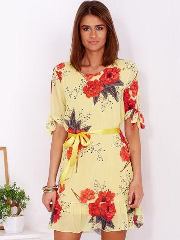 Żółta zwiewna sukienka w kwiaty z wiązaniem